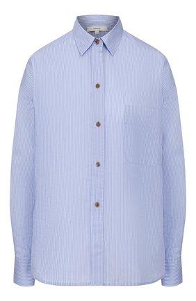 Женская рубашка из смеси хлопка и шелка VINCE голубого цвета, арт. V651411638 | Фото 1