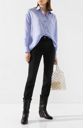 Женская рубашка из смеси хлопка и шелка VINCE голубого цвета, арт. V651411638 | Фото 2
