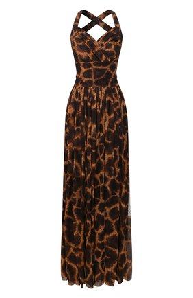 Женское шелковое платье DOLCE & GABBANA коричневого цвета, арт. F6I1QT/IS1DZ | Фото 1