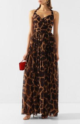Женское шелковое платье DOLCE & GABBANA коричневого цвета, арт. F6I1QT/IS1DZ | Фото 2