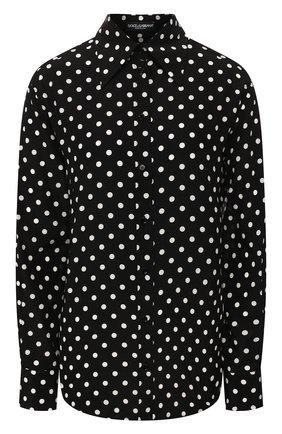 Женская шелковая рубашка DOLCE & GABBANA черно-белого цвета, арт. F5M89T/FSAER | Фото 1