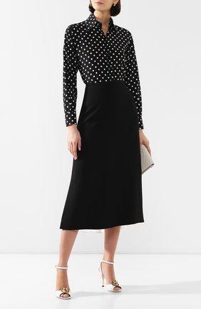 Женская шелковая рубашка DOLCE & GABBANA черно-белого цвета, арт. F5M89T/FSAER | Фото 2