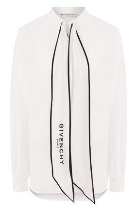 Женская шелковая блузка GIVENCHY белого цвета, арт. BW60FG12EH   Фото 1