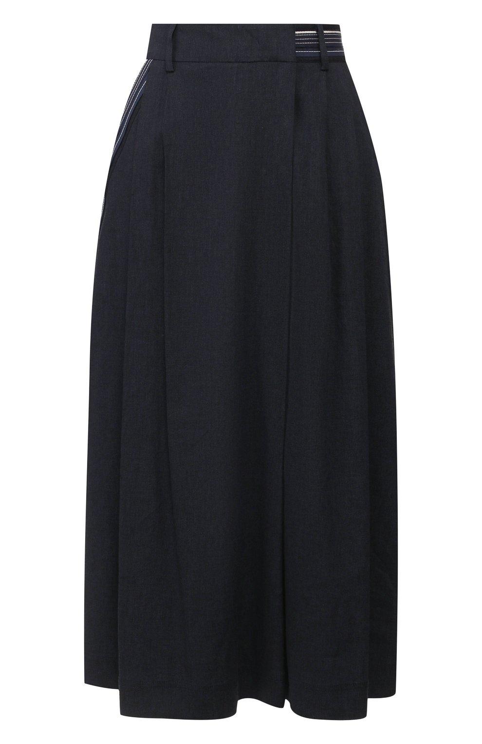 Женская брюки из смеси льна и вискозы LORENA ANTONIAZZI темно-синего цвета, арт. P2029PA078/3211 | Фото 1 (Длина Ж (юбки, платья, шорты): Миди; Материал внешний: Лен; Статус проверки: Проверена категория)