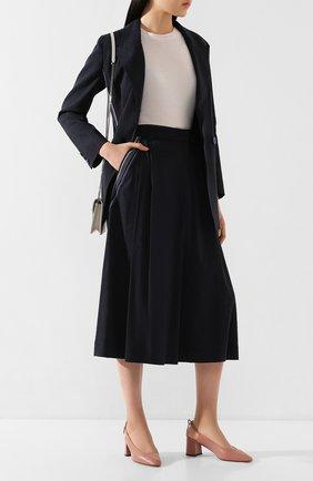 Женская брюки из смеси льна и вискозы LORENA ANTONIAZZI темно-синего цвета, арт. P2029PA078/3211 | Фото 2 (Длина Ж (юбки, платья, шорты): Миди; Материал внешний: Лен; Статус проверки: Проверена категория)