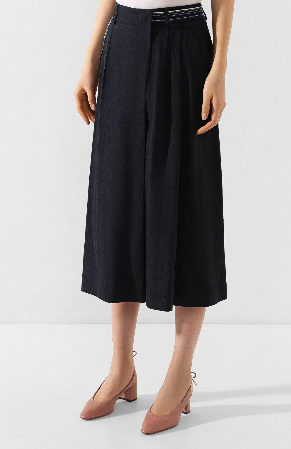 Женская брюки из смеси льна и вискозы LORENA ANTONIAZZI темно-синего цвета, арт. P2029PA078/3211 | Фото 3 (Длина Ж (юбки, платья, шорты): Миди; Материал внешний: Лен; Статус проверки: Проверена категория)