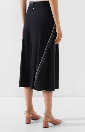 Женская брюки из смеси льна и вискозы LORENA ANTONIAZZI темно-синего цвета, арт. P2029PA078/3211 | Фото 4 (Длина Ж (юбки, платья, шорты): Миди; Материал внешний: Лен; Статус проверки: Проверена категория)