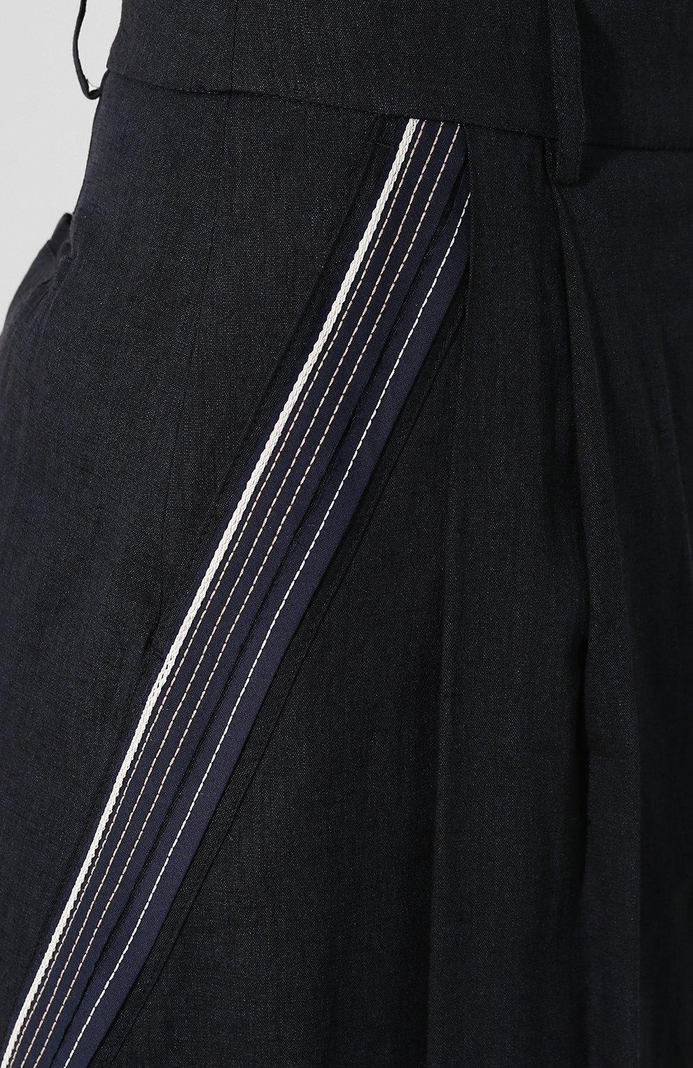 Женская брюки из смеси льна и вискозы LORENA ANTONIAZZI темно-синего цвета, арт. P2029PA078/3211 | Фото 5 (Длина Ж (юбки, платья, шорты): Миди; Материал внешний: Лен; Статус проверки: Проверена категория)