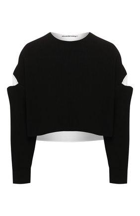 Женская хлопковый свитер ALEXANDERWANG.T черно-белого цвета, арт. 4KC1201035 | Фото 1
