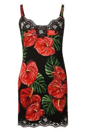 Женская сорочка из смеси шелка и хлопка DOLCE & GABBANA красного цвета, арт. 06A00T/FSA0A | Фото 1
