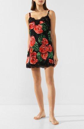 Женская сорочка из смеси шелка и хлопка DOLCE & GABBANA красного цвета, арт. 06A00T/FSA0A | Фото 2