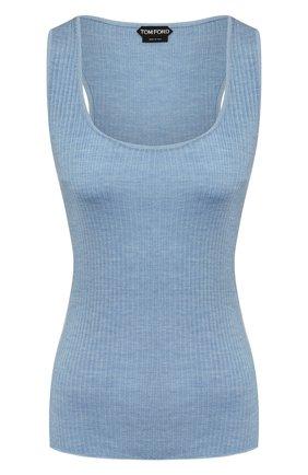 Женская шелковая майка TOM FORD голубого цвета, арт. TSK248-YAX255 | Фото 1