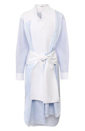 Женское хлопковое платье LOEWE голубого цвета, арт. S2106292GA | Фото 1