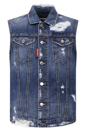 Мужской джинсовый жилет DSQUARED2 синего цвета, арт. S74FB0251/S30309 | Фото 1