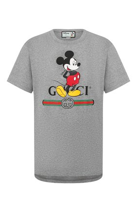Мужская хлопковая футболка disney x gucci GUCCI серого цвета, арт. 565806/XJB67 | Фото 1