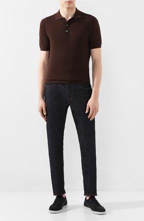 Мужское поло из смеси хлопка и кашемира CORTIGIANI коричневого цвета, арт. 819145/0100 | Фото 2