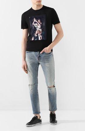 Мужская хлопковая футболка LIMITATO черного цвета, арт. BE CAREFUL/T-SHIRT   Фото 2