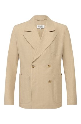 Мужской пиджак из смеси льна и хлопка MAISON MARGIELA бежевого цвета, арт. S50BN0434/S52642 | Фото 1