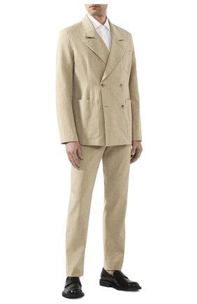 Мужской пиджак из смеси льна и хлопка MAISON MARGIELA бежевого цвета, арт. S50BN0434/S52642 | Фото 2