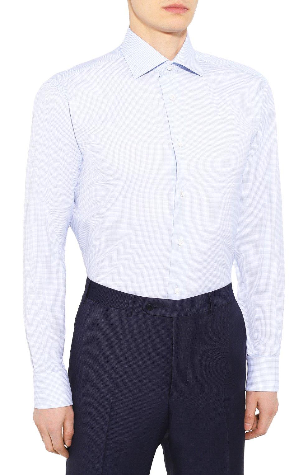Мужская хлопковая сорочка BRIONI голубого цвета, арт. RCLU0U/P907L | Фото 3