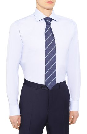 Мужская хлопковая сорочка BRIONI голубого цвета, арт. RCLU0U/P907L | Фото 4