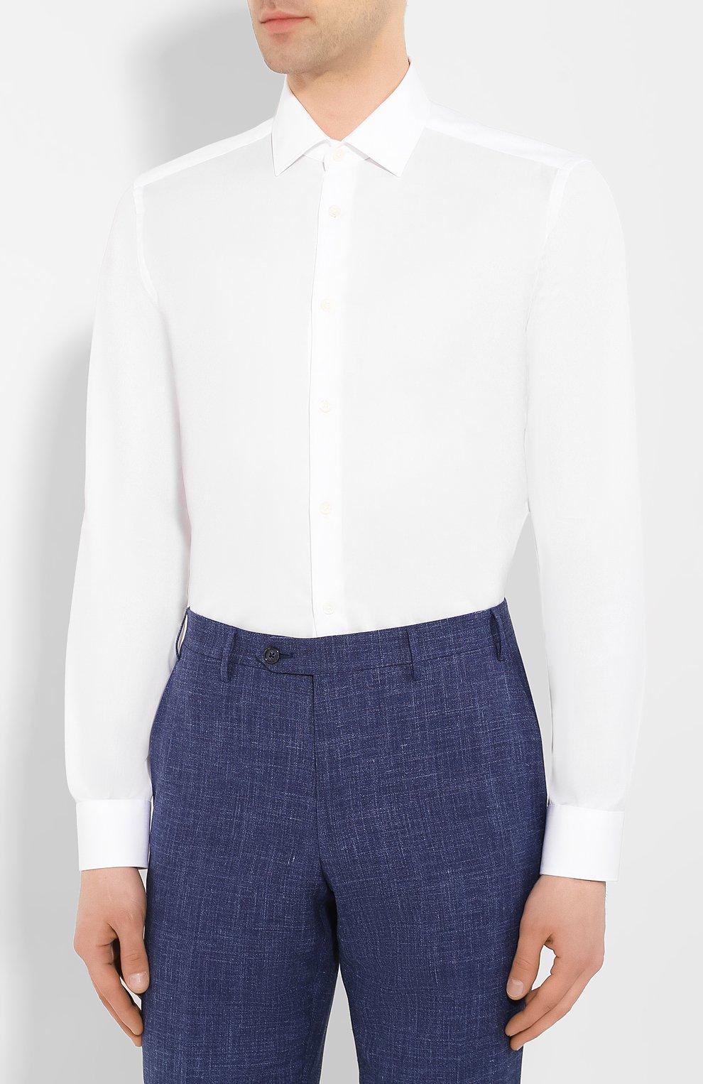 Мужская хлопковая сорочка CORNELIANI белого цвета, арт. 85P010-0111408/00   Фото 3