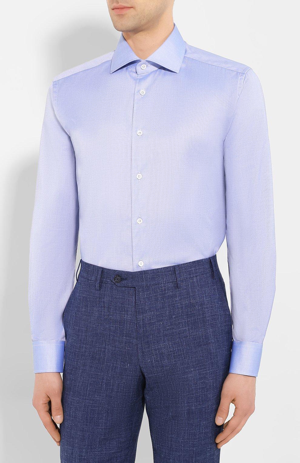 Мужская хлопковая сорочка CORNELIANI синего цвета, арт. 85P100-0111264/00 | Фото 3