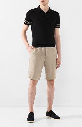 Мужское хлопковое поло BRIONI черного цвета, арт. UMR40L/P9K06   Фото 2