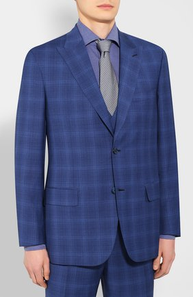 Мужской шерстяной костюм-тройка BRIONI синего цвета, арт. RSH218/P9A1E/PLAT0NE/G | Фото 2