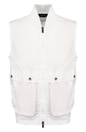 Мужской жилет Z ZEGNA белого цвета, арт. VU008/ZZ065 | Фото 1 (Мужское Кросс-КТ: Верхняя одежда; Материал внешний: Синтетический материал; Материал подклада: Синтетический материал; Длина (верхняя одежда): Короткие; Кросс-КТ: Куртка; Стили: Кэжуэл)
