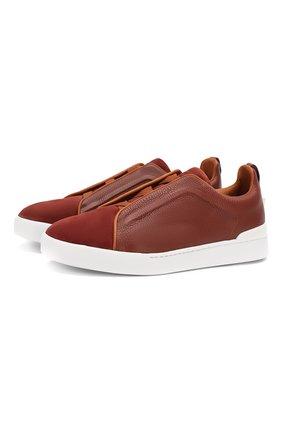Мужские кожаные кеды ZEGNA COUTURE красного цвета, арт. A4426X-LHACL | Фото 1