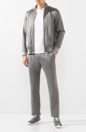 Мужские текстильные кроссовки KITON серого цвета, арт. USSFITSN00609 | Фото 2