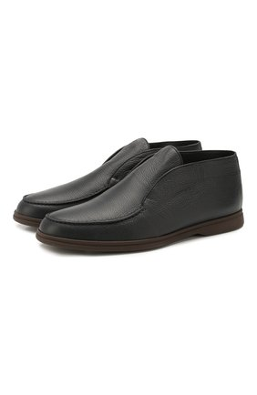 Мужские кожаные ботинки open walk LORO PIANA темно-синего цвета, арт. FAI5538 | Фото 1