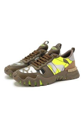 Мужские комбинированные кроссовки valentino garavani rockrunner plus VALENTINO хаки цвета, арт. TY0S0C88/MHB   Фото 1