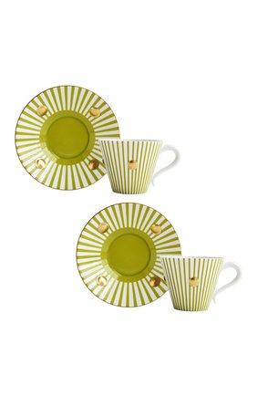 Мужского набор из двух чашек с блюдцами BERNARDAUD зеленого цвета, арт. 1775/22967 | Фото 1