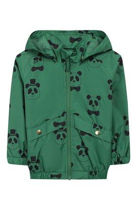 Детского куртка с капюшоном MINI RODINI зеленого цвета, арт. 20210100 | Фото 1