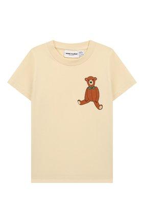 Детская хлопковая футболка MINI RODINI белого цвета, арт. 20220141 | Фото 1