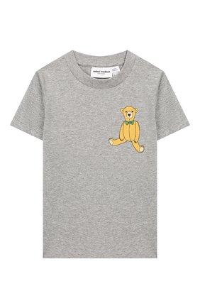 Детская хлопковая футболка MINI RODINI серого цвета, арт. 20220141 | Фото 1