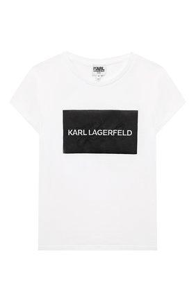 Детская хлопковая футболка KARL LAGERFELD KIDS белого цвета, арт. Z15232   Фото 1