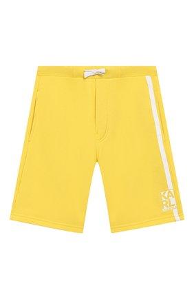 Детские хлопковые шорты KARL LAGERFELD KIDS желтого цвета, арт. Z24092 | Фото 1