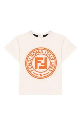 Детский хлопковая футболка FENDI белого цвета, арт. BMI198/7AJ/3M-9M | Фото 1