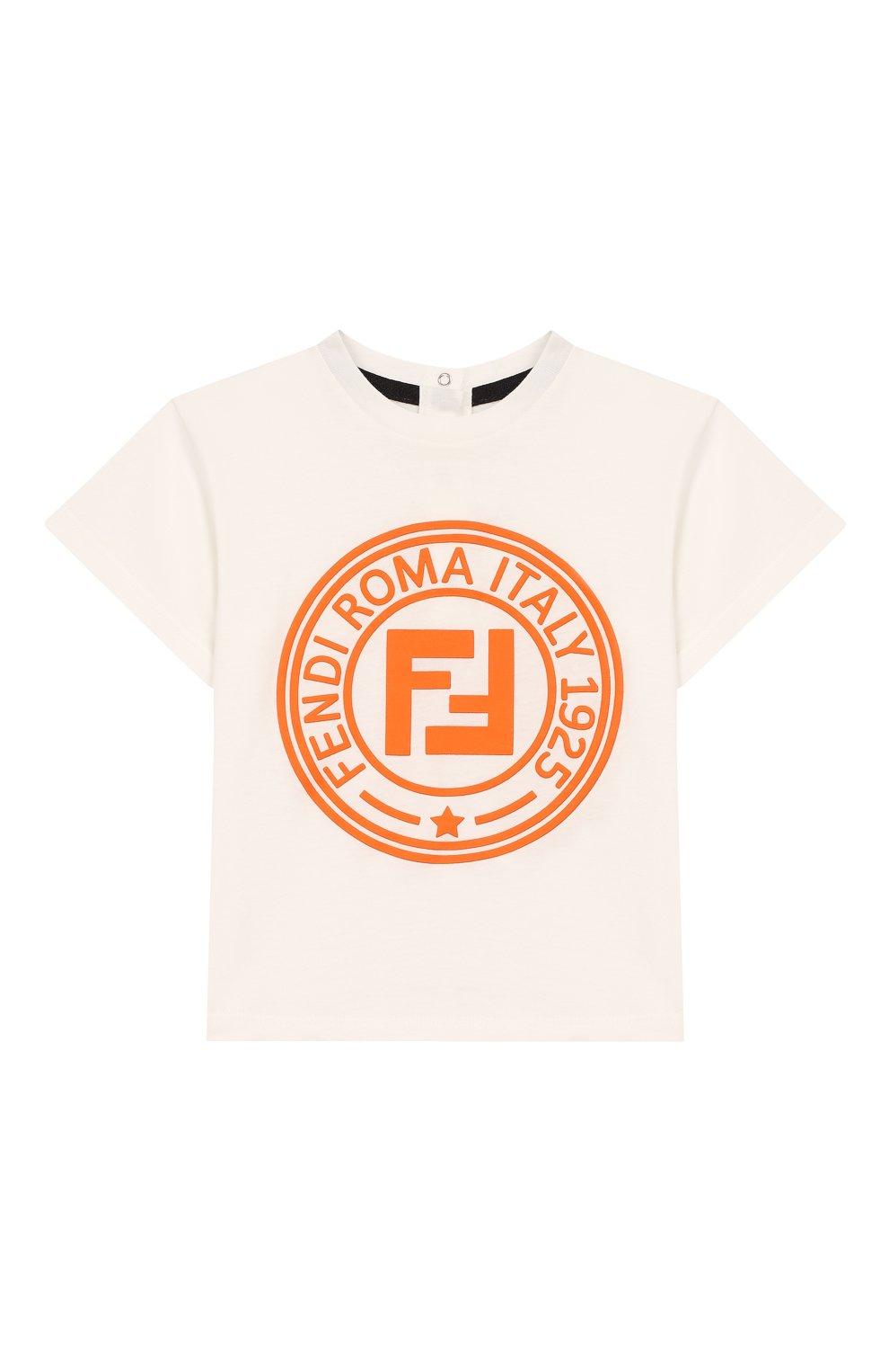 Детский хлопковая футболка FENDI белого цвета, арт. BMI198/7AJ/12M-24M   Фото 1