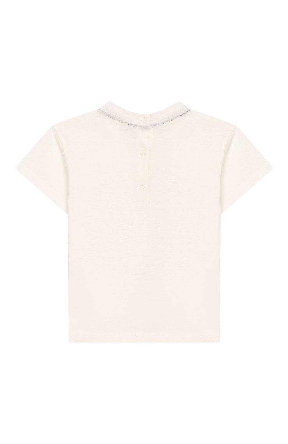 Детский хлопковая футболка FENDI белого цвета, арт. BMI198/7AJ/12M-24M   Фото 2