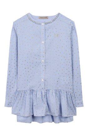 Детское хлопковая блузка ERMANNO SCERVINO голубого цвета, арт. 46I CM15 RIS/4-8 | Фото 1