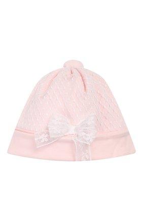 Детского хлопковая шапка ALETTA розового цвета, арт. RB00118 | Фото 1