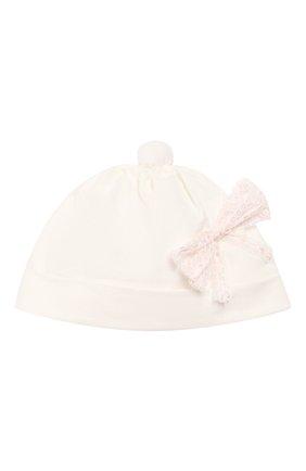 Детского хлопковая шапка ALETTA бежевого цвета, арт. RD00103 | Фото 1