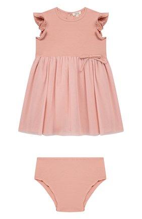 Женский комплект из платья и шорт ALETTA розового цвета, арт. RW00281/1M-2A | Фото 1