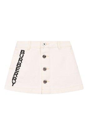 Детская джинсовая юбка BURBERRY белого цвета, арт. 8026348 | Фото 1