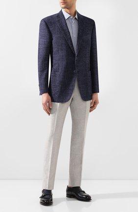 Мужская хлопковая сорочка BOSS синего цвета, арт. 50427942 | Фото 2
