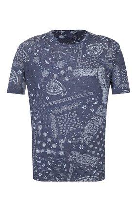 Мужская льняная футболка 120% LINO темно-синего цвета, арт. R0M7186/F813/S00 | Фото 1